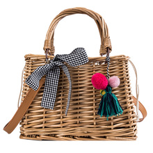 Hand-woven square rattan bag Bamboo Bag ladies basket bucket summer beach female tassel Bohemian shoulder