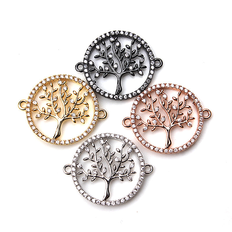 1pc 20*20mm Delicate Micro Pave Life Tree Pave Necklaces Pendants Copper Bracelet Charms Connector Jewelry Components