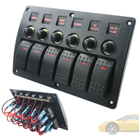 Car Switch Panel Red Single Bar Switch Combinate Panel Lighter Socket with PCB Overload Protector for Car Yacht Ship