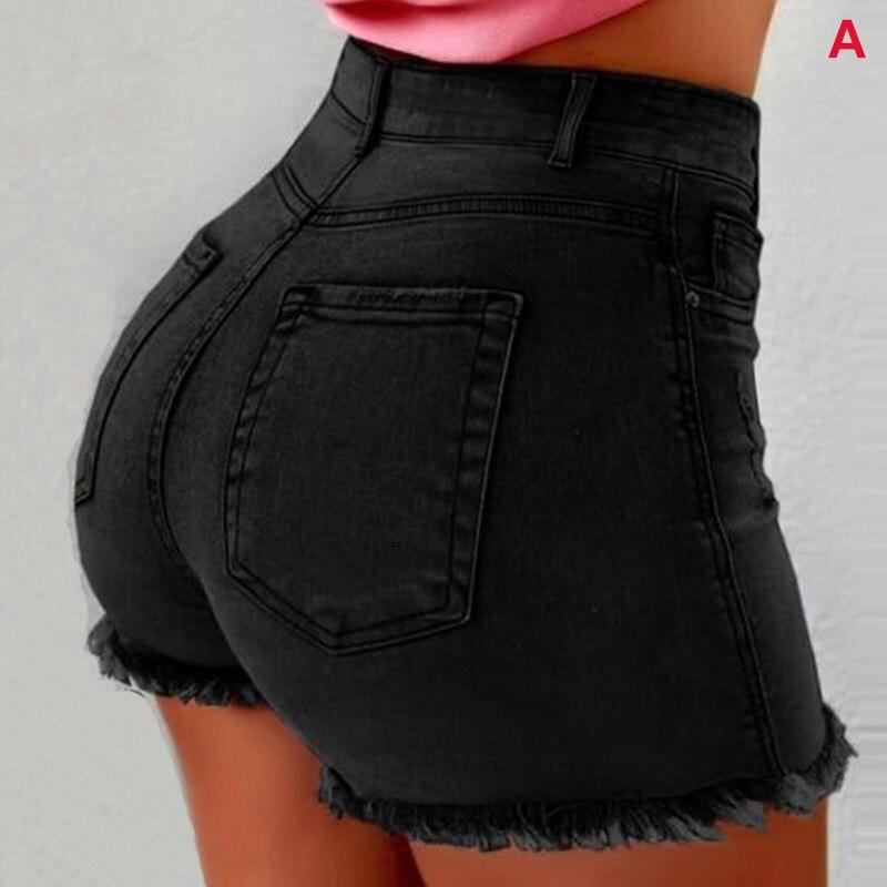 Women Short Jeans High Waist Tassel Hem Holes Hot Shorts For Summer TC21