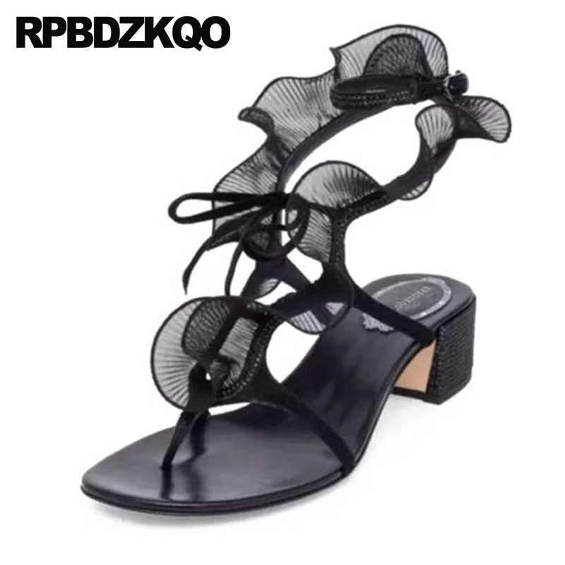 d58bfbd9eaa5 Shoes Designer Sandals Women Luxury 2018 Nice Slingback Low Heel Thong Lace  Block Runway Square Gladiator
