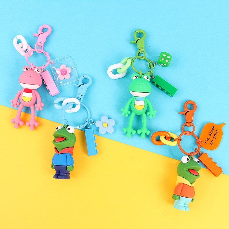 Big Eyes Frog Doll Key Chain For Men And Women Pendant Accessories Keychains Cartoon Cute Soft Rubber Animal Key Ring in Key Chains from Jewelry Accessories