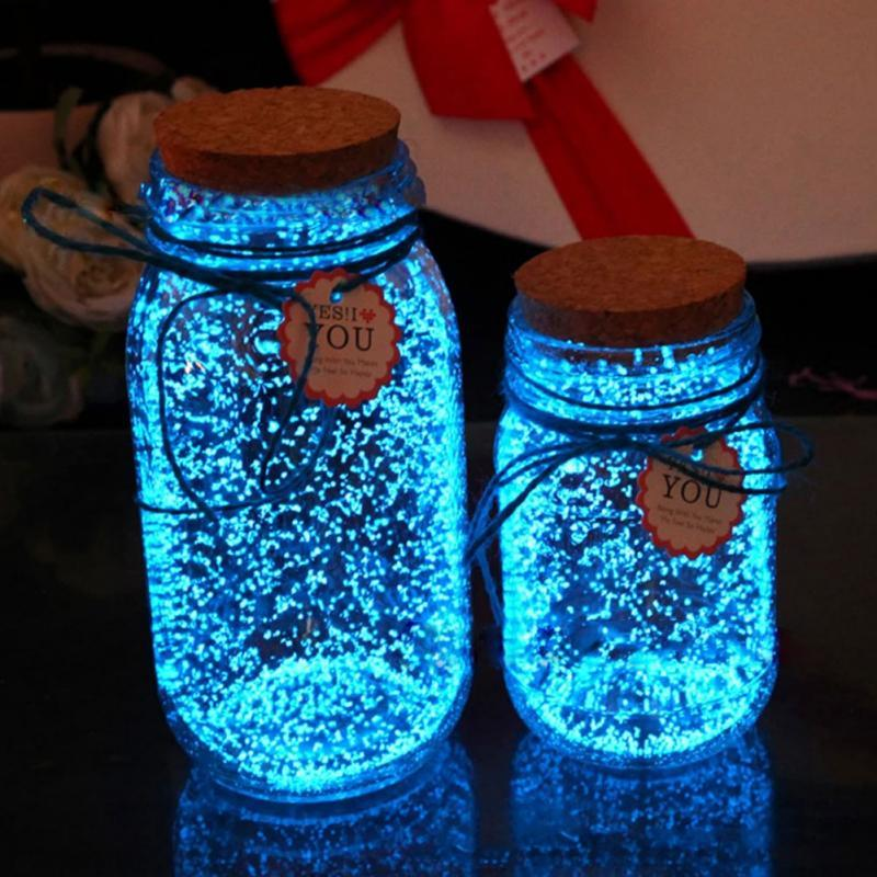 Glow in the dark 10g Luminous Party DIY Bright Paint Star Wishing Bottle Fluorescent Particles toys Noctilucan sand light