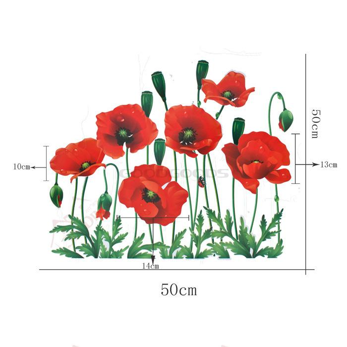 Wall Art Decor Nature Poppy Decals Flowers Behind Bed