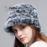 Korean female rabbit hair hat winter Fur Hat Beret knitted wool hat duck tongue warm autumn and winter fashion