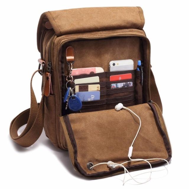 Men Vintage Canvas Leather School Shoulder Bag Satchel Military Messenger Retro