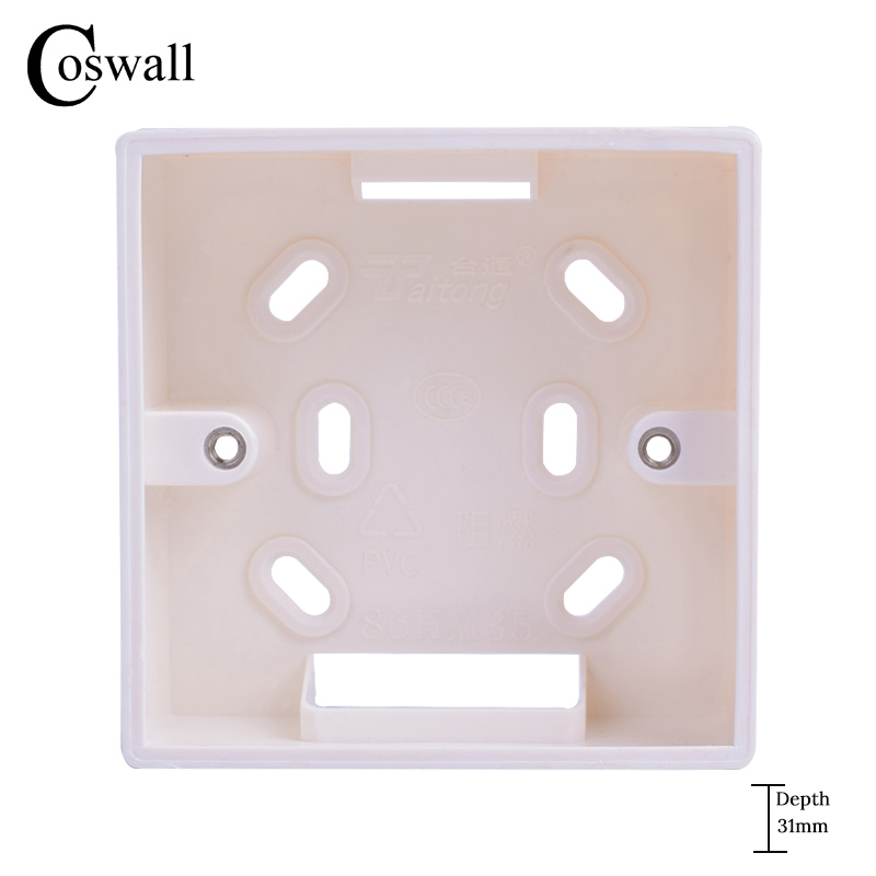 Coswall External Mounting Box 86mm*86mm*34mm for 86mm*86mm Standard Switches and Sockets Apply For Any Position of Wall SurfaceCoswall External Mounting Box 86mm*86mm*34mm for 86mm*86mm Standard Switches and Sockets Apply For Any Position of Wall Surface