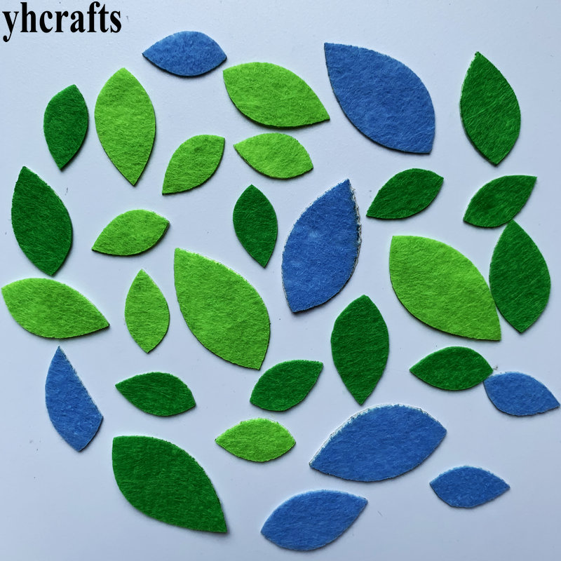 1bag(30-50PCS) Green Leaf Felt Stickers Fabric Crafts Early Learning Educational Toys Spring Decoration Kindergarten Crafts Gift