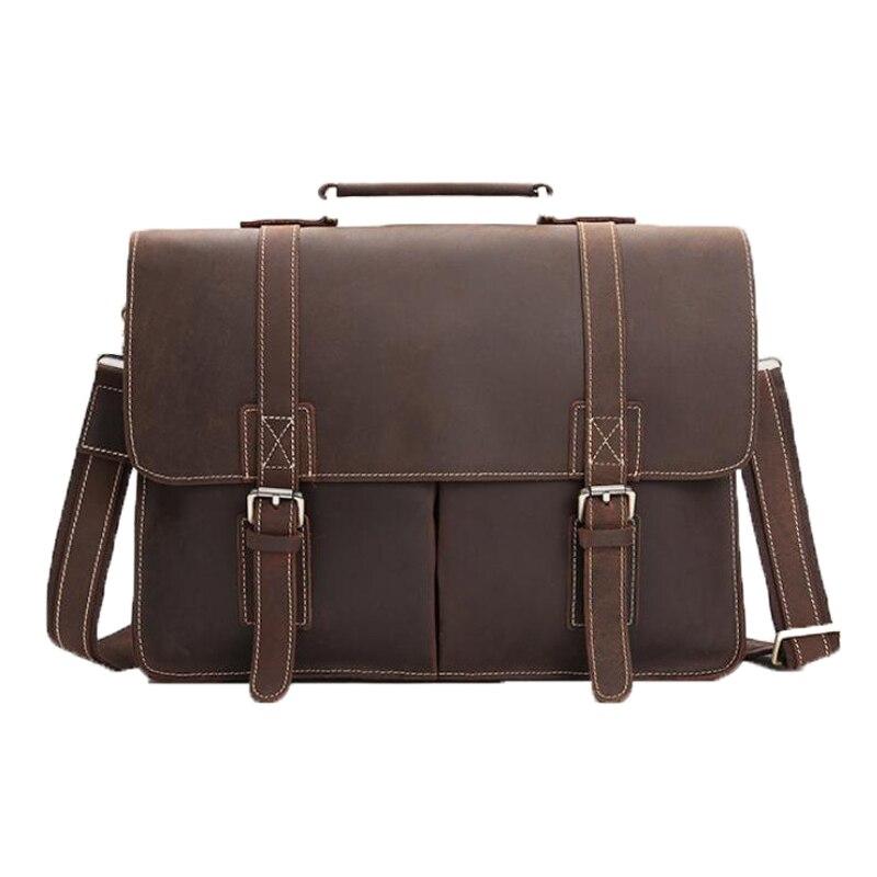 ROCKCOW Leather Vintage Rustic Leather Messenger Laptop Briefcase Satchel Bag for Men and Women 8017 vintage engraving and fringe design women s satchel