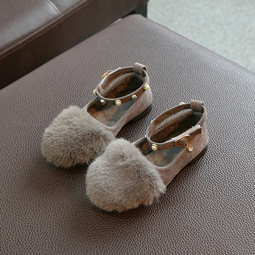 2017 Fashion Girl Suede Shoes Autumn Spring Child Fur Sneakers For Girls Kids Leather Party Princess Sandals Elegant Dance Shoes
