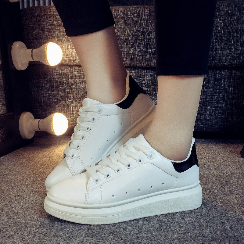 New Women Fashion Korean Lace-Up Casual Shoes Breathable comfort Flange White Board Shoes Female Flat Sneakers