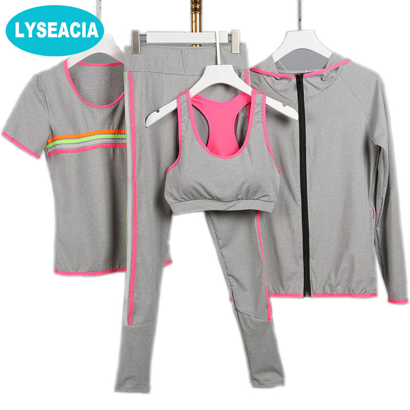 LYSEACIA 2017 Yoga suit Women Fitness Sportswear Running Exercise Tracksuits for women Yoga Sets 3 colors Breathable Sports suit 2017 women yoga sets 3 pieces t shirt bra pants fitness workout clothing women gym sports tops running slim leggings sport suit