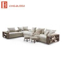 Simples meados do século moderno de madeira projetos sala de estar mobiliário tecido sofá conjunto