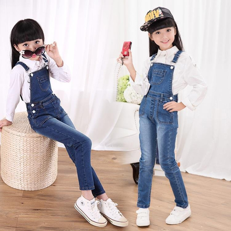 In the spring and autumn new girls pants pants cowboy bib child south Korean children conjoined