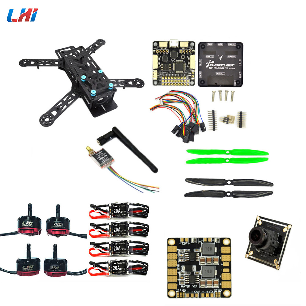 LHI Diy qav250 quadcopter frame kit flight controller zmr250 qav 250 carbon fiber with camera drone