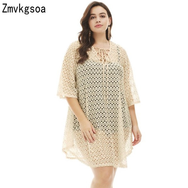 Zmvkgsoa Apricot Black Beach Dress For Women Crochet Lace Up Big