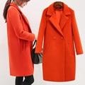 2016 новое прибытие мода Женщины Шерстяное Пальто С Лоскутное Долго зимой Шерстяные пальто Красный Черный Мода Повседневная Шерсть Peacoats Плюс размер