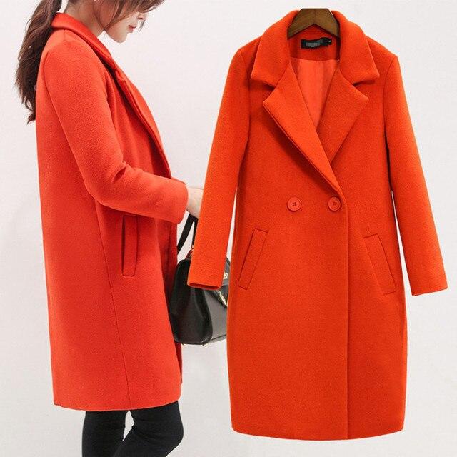 2016 nueva llegada de la manera Mujeres Abrigo de Lana Con Acolchado Largo abrigos de Lana De invierno Rojo Negro Moda Casual Lana Peacoats Plus tamaño
