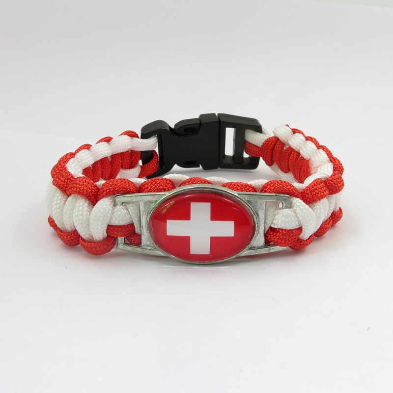 Mode liefde zwitserland Nationale vlag Armbanden handgemaakte zwitserland bangle fashion Vrouwen en mannen ornament zwitserland bangle