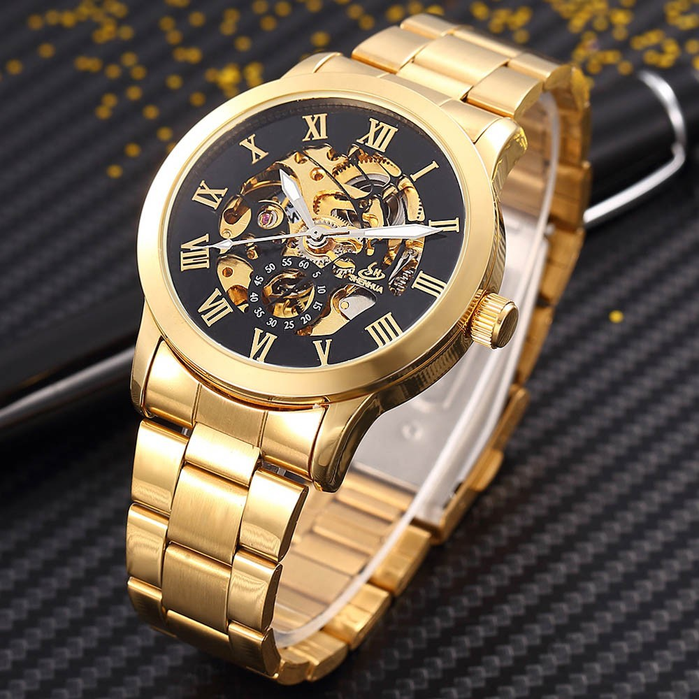 SHENHUA Men's Watch Luxury Fashion Men Gold Skeleton Automatic Mechanical Wrist Watches Men's Mechanical Watch Relogio Masculino