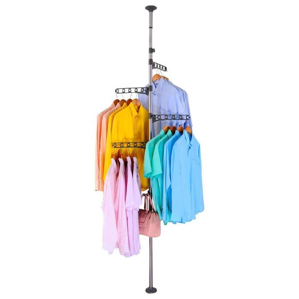 Adjustable Corner Coat Rack Tree Stand Tension Pole Organizer Hanger Hook For Hats Scarves Clothes Handbag Purse DQ0777-Bxilie