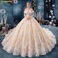 Luxury Champagne Wedding Dress Plus Size Dubai Princess Wedding Gowns Lace Appliques Off Shoulder Weddingdress Vestidos De Novia
