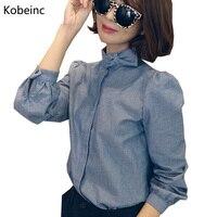 クラシック縦縞女性シャツ面白い弓結び目パッチブラウスカジュアルスタンド襟長袖blusas大型カミーサ