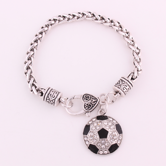 Best Price High Quality Rhodium Plated Studded With Sparkling Crystal Soccer Charm Bracelet
