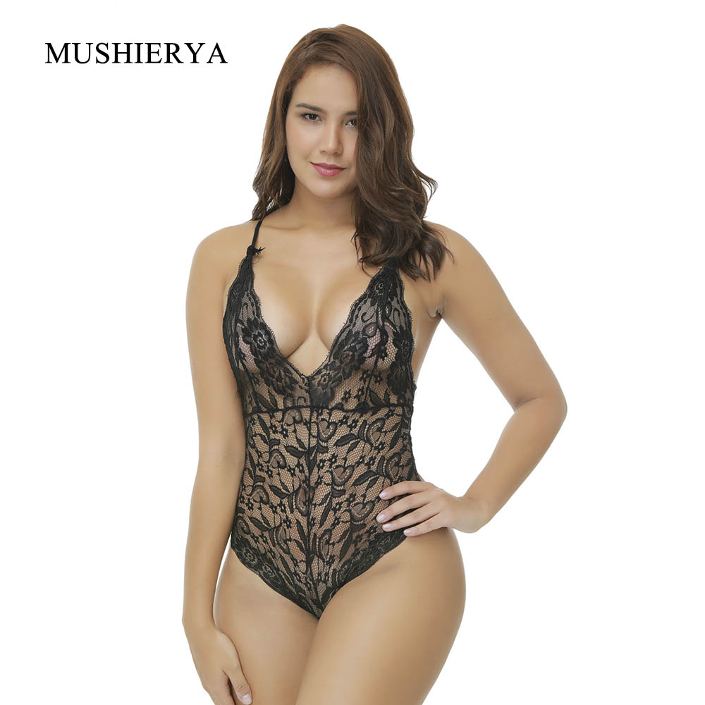 MUSHIERYA Plus Size Sexy Hot Erotic Body Suit Deep V Neck Sexy Lingerie Floral Nightwear Underwear Women Sexy Teddies Lingerie in Teddies Bodysuits from Novelty Special Use