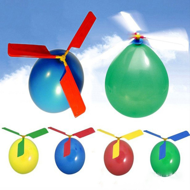 1 Set Classic Balloon Airplane Helicopter For Kids Children Flying Toy Gift Outdoors toys image