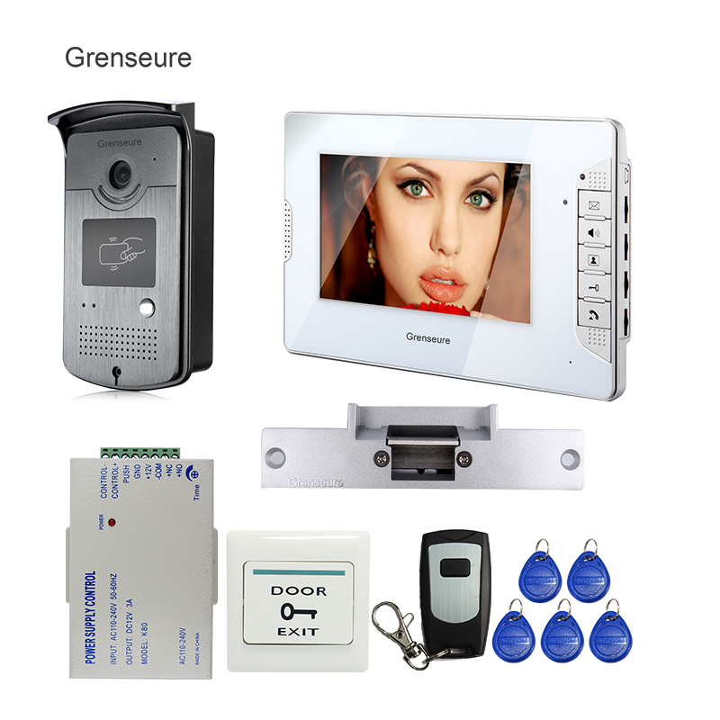 FREE SHIPPING NEW 7 Video Intercom Home Door Phone System 1 White Monitor 1 HD ID Reader Camera Electric Strike Lock Wholesale free shipping brand 7 home video intercom door phone recoder system 2 monitor rfid card reader door intercom camera wholesale