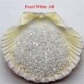 3000 unids Pearl White AB Resina ABS Fake Medias Perlas De Uñas Glitter Ronda Perlas posterior Plana Nail Art Decoración accesorios