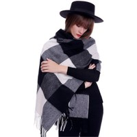 Plaid scarf winter women cashmere shawl poncho scarfs luxury brand pashmina ladies scarves womens shaws tartan Size:70*190cm