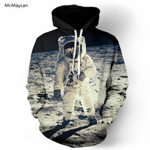 Mr.MayLan 2018 New Fashion Cap Hoodies For Men/Women 3d Sweatshirt Print Astronaut Moon Landing Hooded Hoody Pullover Tops