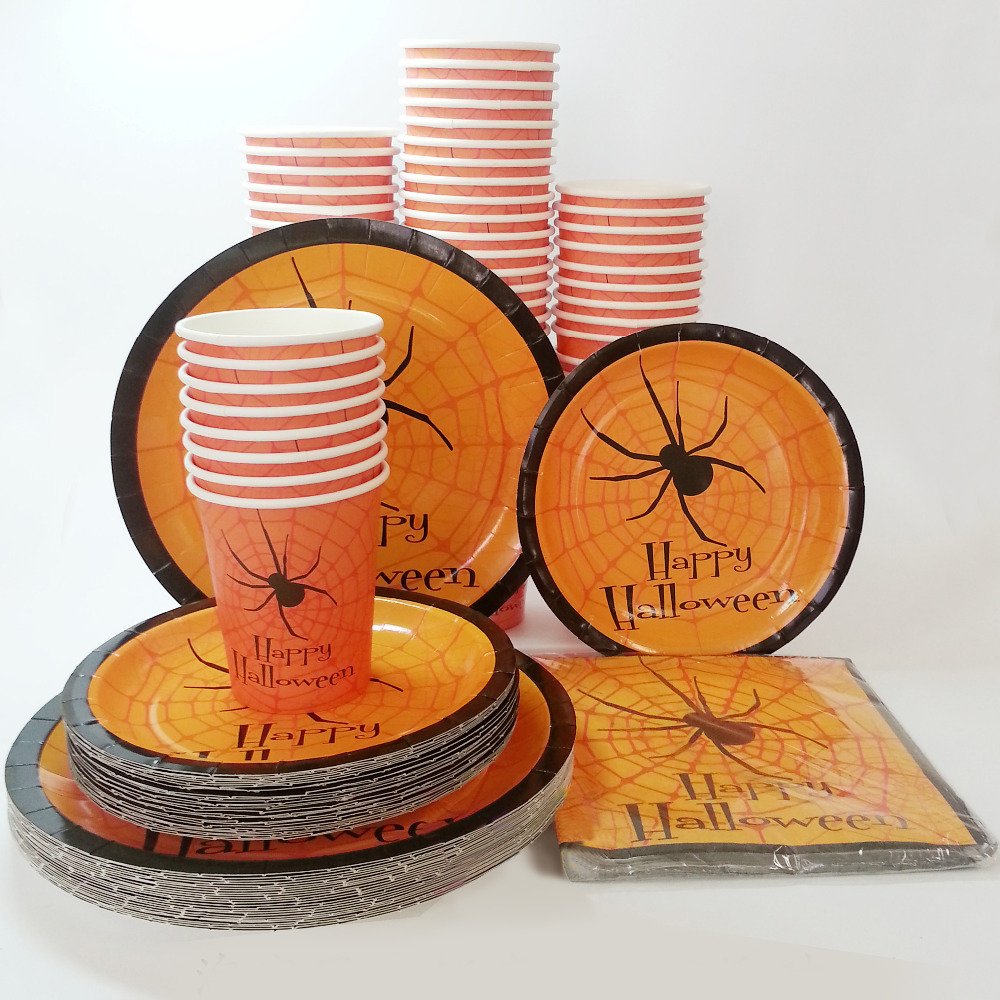 1set halloween disposable tableware sets plates paper cups napkins paperboard party tableware happy halloween favor accessories in disposable party