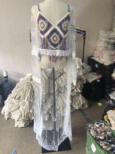Image 5 - Женский пляжный банный халат для выхода в ванну, купальный костюм, кафтан, платье для плавания, накидка для плавания, привлекательный прозрачный кружевной раздельный костюм, 2020