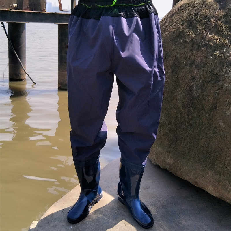 d993dd0542fcd ... High-Jump Breathable Waist Mesh Fishing Waders Waterproof PVC Boot Soft  Bottom Leather Pant Waders ...