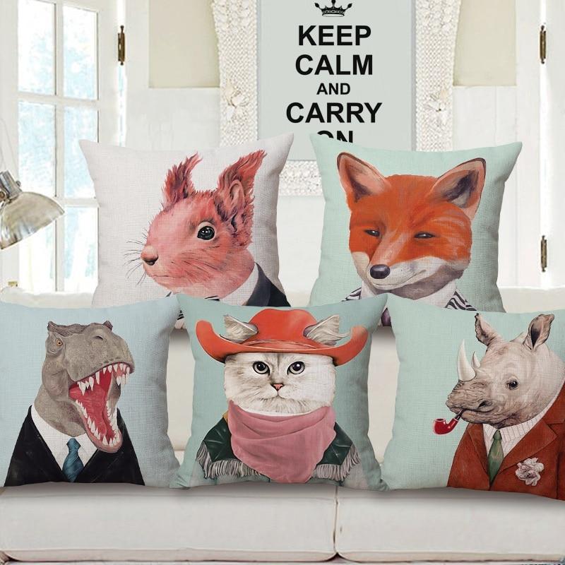 Animals Cushion Cover Lovely Cat Fox Mole Dinosaur Walrus