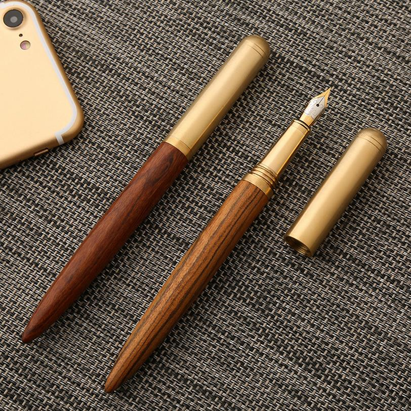 High Quality Luxury wood fountain pen ink pen 0.7mm nib caneta tinteiro Office with pen bag quill pen Penna stilografica 03839