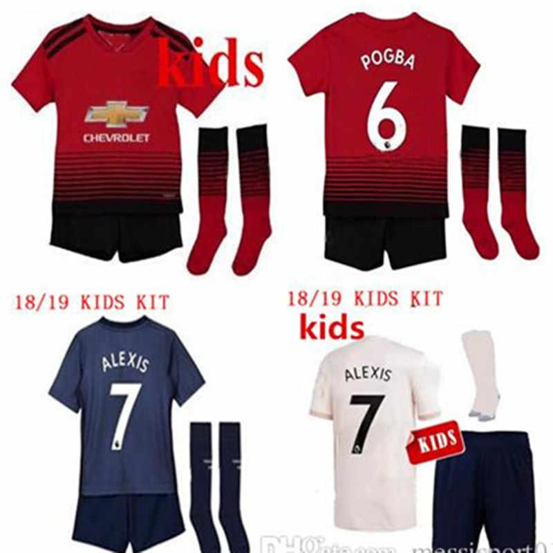 5c2a966b788 2018 2019 boy child Manchester United Soccer Jersey KIDS KIT 18 19 away  Lukaku ALEXIS pogba