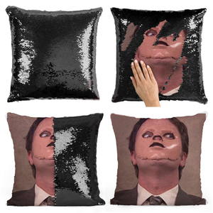 Dwight Schrute Mask sequin pillow | sequin Pillowcase | Two color pillow | gift for her | gift for him | pillow | magic pillow(China)