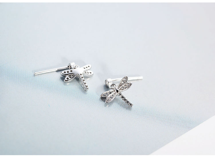 geekoplanet.com - 100% 925 Sterling Silver Cubic Zirconia Dragonfly Stud Earrings