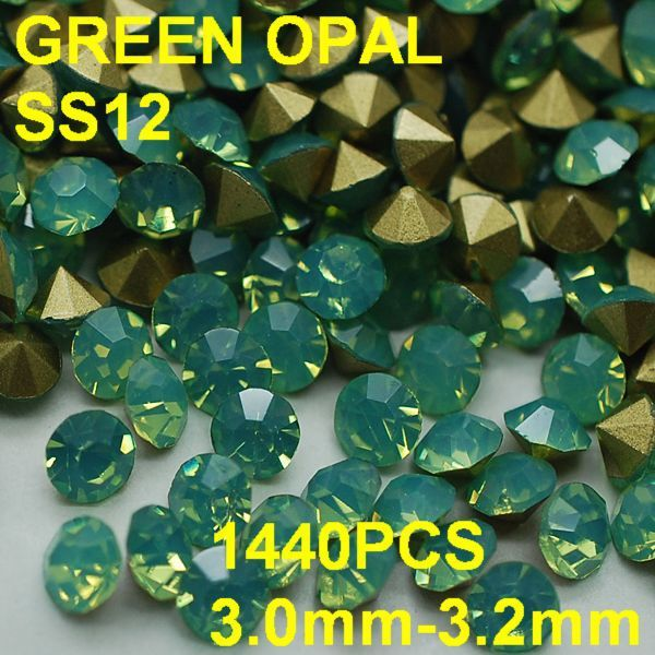 SS12 1440pcs/lot 3.0mm-3.2mm Hot Sale Green Color Opal Rhinestone with Golden Point Back Nail 3D Rhinestones Decoration