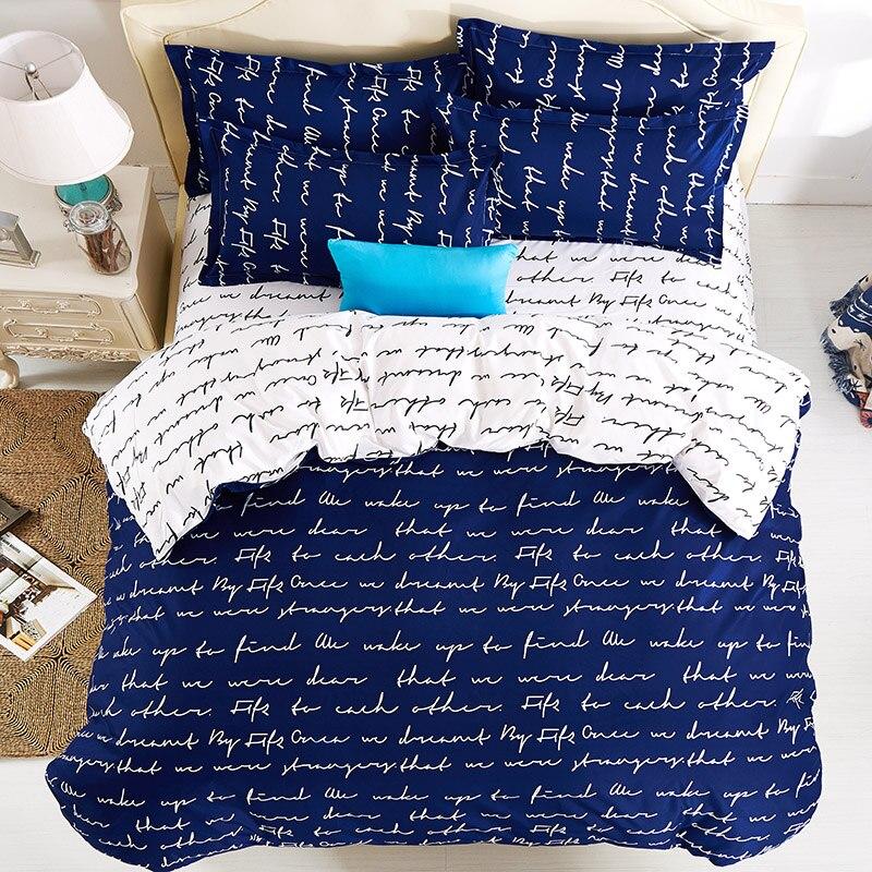 Love Letter Print Girls Duvet Cover Sets 4pc Bed Sheet 100