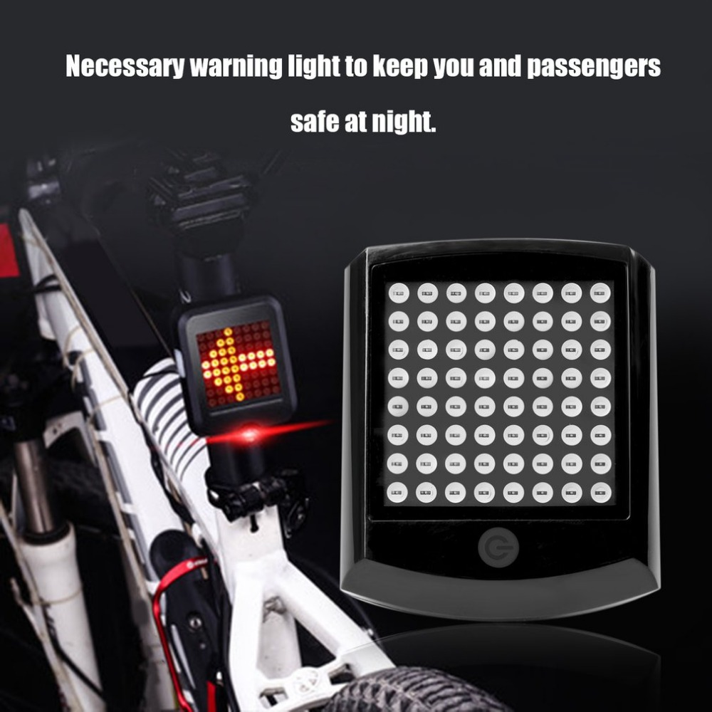 T603A Battery Powered Wireless Bicycle Tail Light 64 LED Bike Turn Signal Remote Control Warning Taillight Rear Light Drop shipp