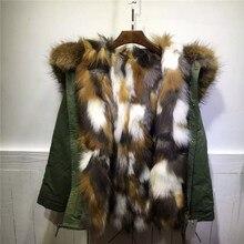Природные Multi красочные Лисий мех внутри куртки Mrs Мех животных S парка зимние толстые теплые mr пальто с мехом