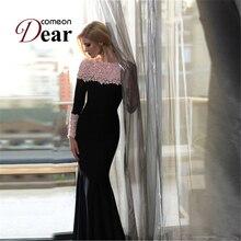 Comeondear New Boat Neck Lace Maxi Dress Long Sleeve Spring Autumn Dress Floor Length Elegant Long Dress VB1020 Vestido Longo