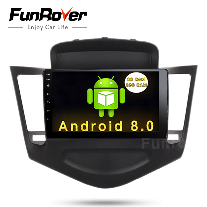 FUNROVER Android 8.0 9'' 2 din Car dvd Audio GPS Navigation Player for Chevrolet Cruze 2009-2013 tape recorder BT video USB wifi
