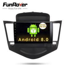 """FUNROVER Android 8.0 9"""" 2 din Car dvd Audio GPS Navigation Player for Chevrolet Cruze 2009-2013 tape recorder BT video USB wifi"""