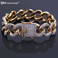 Drop Shipping Top Quality 18mm Full Bling Iced Out Mens Curb Cuban Link Bracelets Pure Copper Micro CZ Clasp Gold Chain Bangles